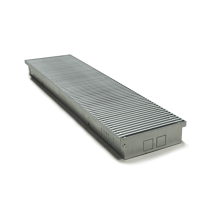 ITTZ series uncoated galvanized steel in floor trench convector design with grille. General view.