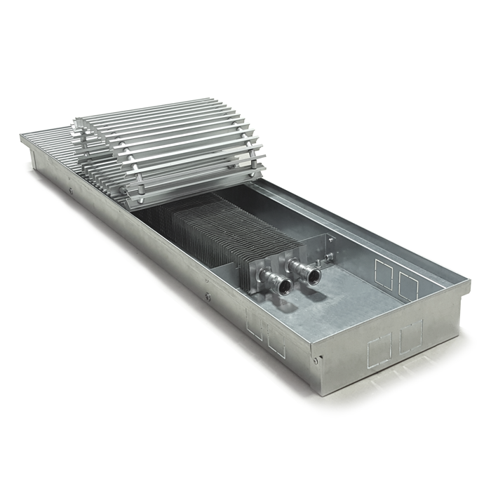 ITTZ series uncoated galvanized steel in floor trench convector design with open grille. Internal view.