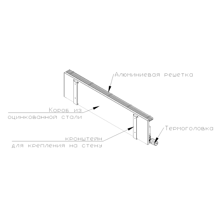 itermic wall convector diagram. Rear view
